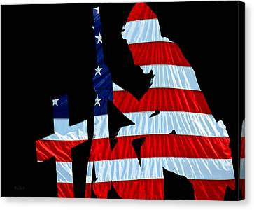 A Time To Remember United States Flag With Kneeling Soldier Silhouette Canvas Print by Bob Orsillo