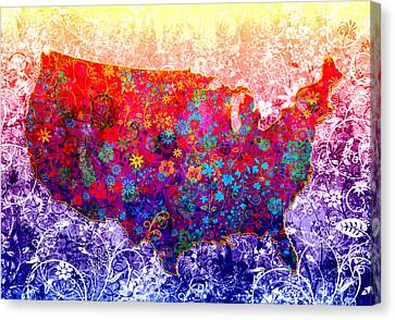 United States Floral Map 2 Canvas Print by Bekim Art