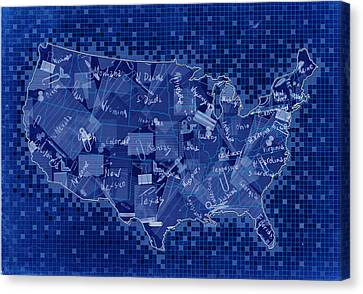 United States Map Collage 7 Canvas Print by Bekim Art