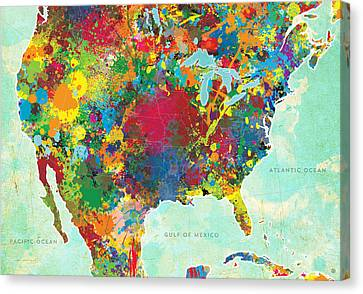 United States Map Canvas Print by Gary Grayson