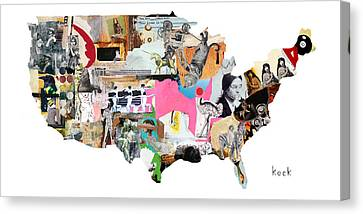 United States Map Canvas Print by Michel Keck
