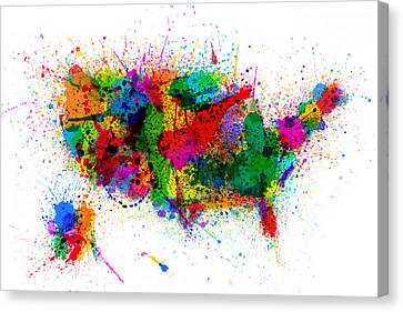 United States Paint Splashes Map Canvas Print by Michael Tompsett