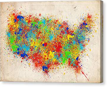 United States Splat Color Map  Canvas Print by Bekim Art