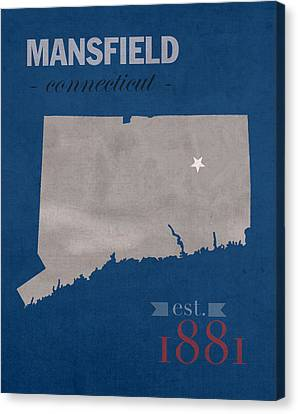University Of Connecticut Huskies Mansfield College Town State Map Poster Series No 033 Canvas Print by Design Turnpike