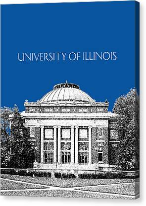 University Of Illinois Foellinger Auditorium - Royal Blue Canvas Print by DB Artist