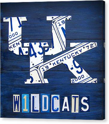 University Of Kentucky Wildcats Sports Team Retro Logo Recycled Vintage Bluegrass State License Plate Art Canvas Print by Design Turnpike