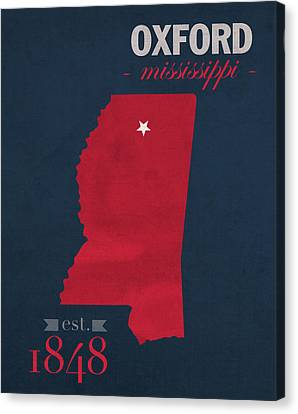 University Of Mississippi Ole Miss Rebels Oxford College Town State Map Poster Series No 067 Canvas Print by Design Turnpike