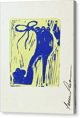 Untitled Shoe Print In Blue And Green Canvas Print by Lauren Luna