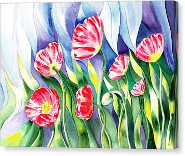 Upcoming Wind Poppy Field Canvas Print by Irina Sztukowski