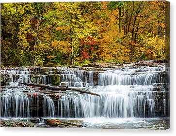 Upper Cataract Falls On Mill Creek Canvas Print by Chuck Haney