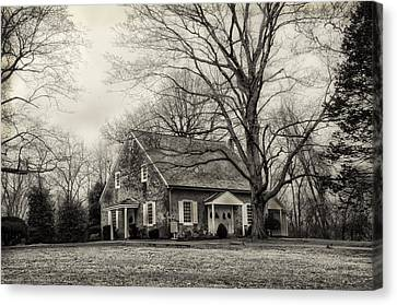 Upper Dublin Meetinghouse In Sepia Canvas Print by Bill Cannon