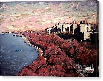 Upper Manhattan Along The Hudson River Canvas Print by Sarah Loft