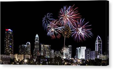 Uptown Fireworks 2014 - Pano Canvas Print by Chris Austin