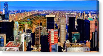 Urban Abstract New York City Skyline And Central Park Canvas Print by Dan Sproul