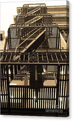 Urban Fabric - Fire Escape Stairs - 5d20592 - Sepia Canvas Print by Wingsdomain Art and Photography