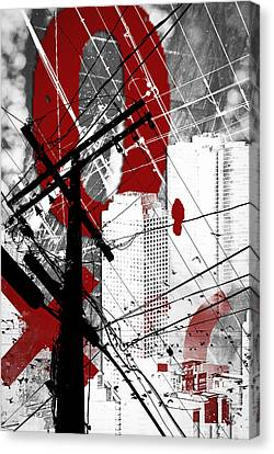 Urban Grunge Red Canvas Print by Melissa Smith