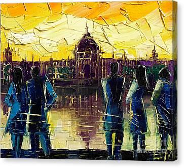 Urban Story - Hotel-dieu De Lyon Canvas Print by Mona Edulesco