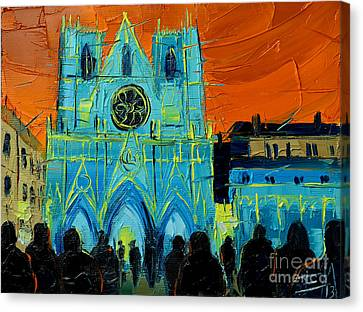 Urban Story - The Festival Of Lights In Lyon Canvas Print by Mona Edulesco