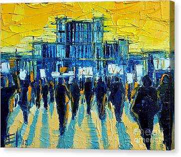 Urban Story - The Romanian Revolution Canvas Print by Mona Edulesco