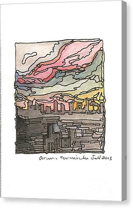 Urban Sunset Canvas Print by Aruna Samivelu