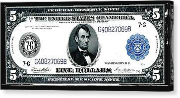 U.s. 1914 Five Dollar Federal Reserve Note Fr 871a Canvas Print by Lanjee Chee