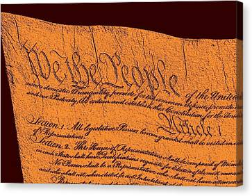 Us Constitution Closeup Sculpture Red Brown Background Canvas Print by L Brown