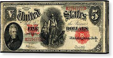 Us Five Dollar United States Note Series 1907 Canvas Print by Lanjee Chee