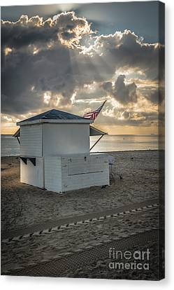 Us Flag On Beach Hut Illuminated By Early Morning Sun Canvas Print by Ian Monk