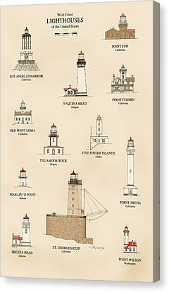 Lighthouses Of The West Coast Canvas Print by Jerry McElroy - Public Domain Image
