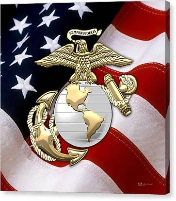 U. S. Marine Corps - U S M C Eagle Globe And Anchor Over American Flag. Canvas Print by Serge Averbukh
