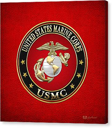 U. S. Marine Corps - U S M C Emblem Special Edition Canvas Print by Serge Averbukh