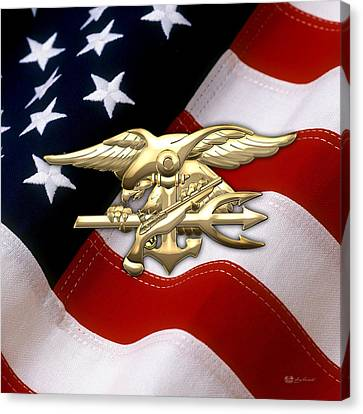 U. S. Navy S E A Ls Emblem Over American Flag Canvas Print by Serge Averbukh