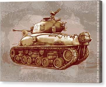 Us Sherman Tank In World War 2 - Stylised Modern Drawing Art Sketch Canvas Print by Kim Wang