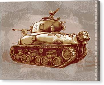 Us Sherman Tank In World War 2 - Stylised Modern Drawing Art Sketch Canvas Print by Kim Wang