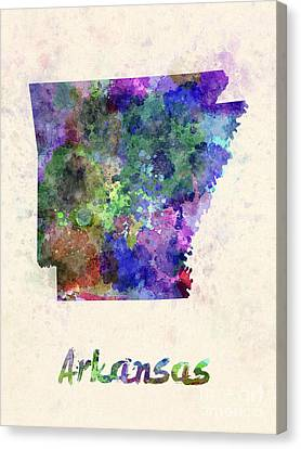 Us State In Watercolor Canvas Print by Pablo Romero
