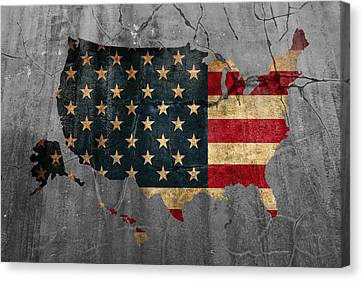 Usa American Flag Country Outline Painted On Old Cracked Cement Canvas Print by Design Turnpike