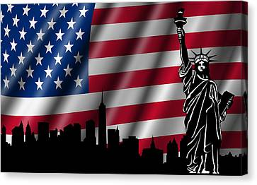 Usa American Flag With Statue Of Liberty Skyline Silhouette Canvas Print by David Gn