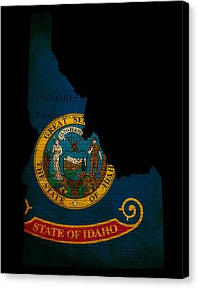 Usa American Idaho State Map Outline With Grunge Effect Flag And Canvas Print by Matthew Gibson