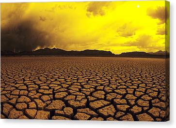 Usa, California, Cracked Mud In Dry Canvas Print by Larry Dale Gordon