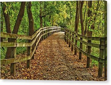 Usa, Indiana City Hiking Trail Canvas Print by Rona Schwarz