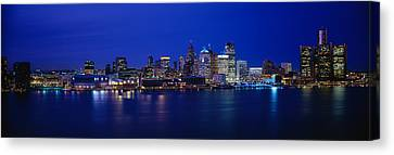 Usa, Michigan, Detroit, Night Canvas Print by Panoramic Images