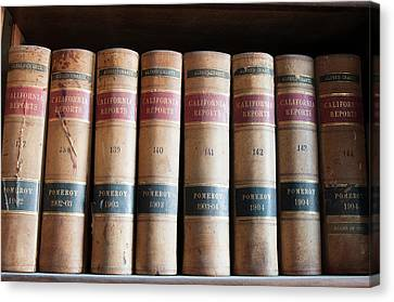 Usa, Nevada Old Law Books In Library Canvas Print by Michael Defreitas