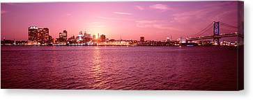 Usa, Pennsylvania, Philadelphia At Dusk Canvas Print by Panoramic Images
