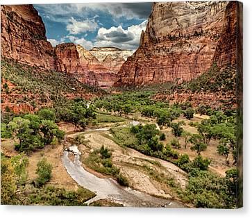 Usa, Utah, Zion National Park, View Canvas Print by Ann Collins
