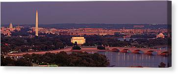 Usa, Washington Dc, Aerial, Night Canvas Print by Panoramic Images