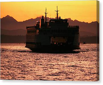 Usa, Washington, Ferry Boat At Sunset Canvas Print by David Barnes