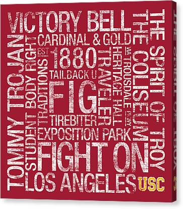 Usc College Colors Subway Art Canvas Print by Replay Photos