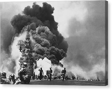 Uss Bunker Hill Kamikaze Attack  Canvas Print by War Is Hell Store