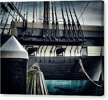Uss Constellation In Baltimore Inner Harbor Canvas Print by Bill Swartwout