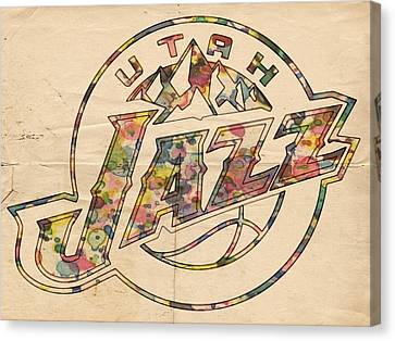Utah Jazz Poster Art Canvas Print by Florian Rodarte
